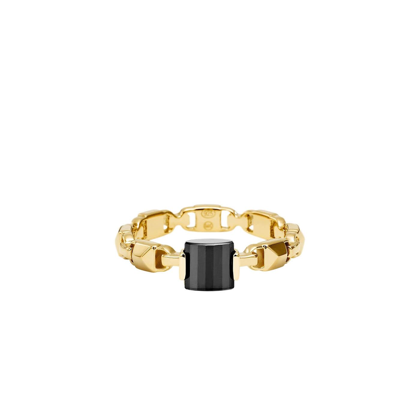 925 STERLING ZILVEREN GOUDKLEURIGE/ZWARTE MERCER LINK RING MKC1026AM710