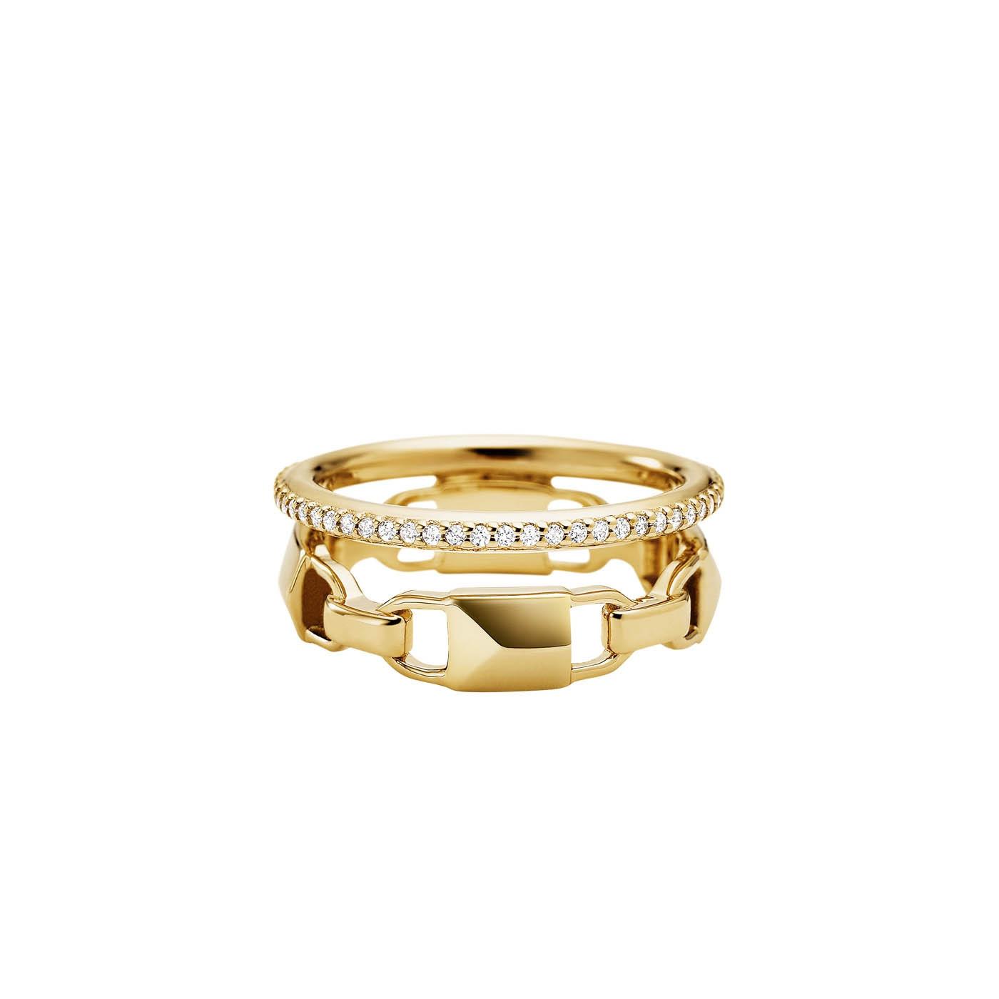 925 STERLING ZILVEREN GOUDKLEURIGE MERCER LINK RING MKC1025AN710